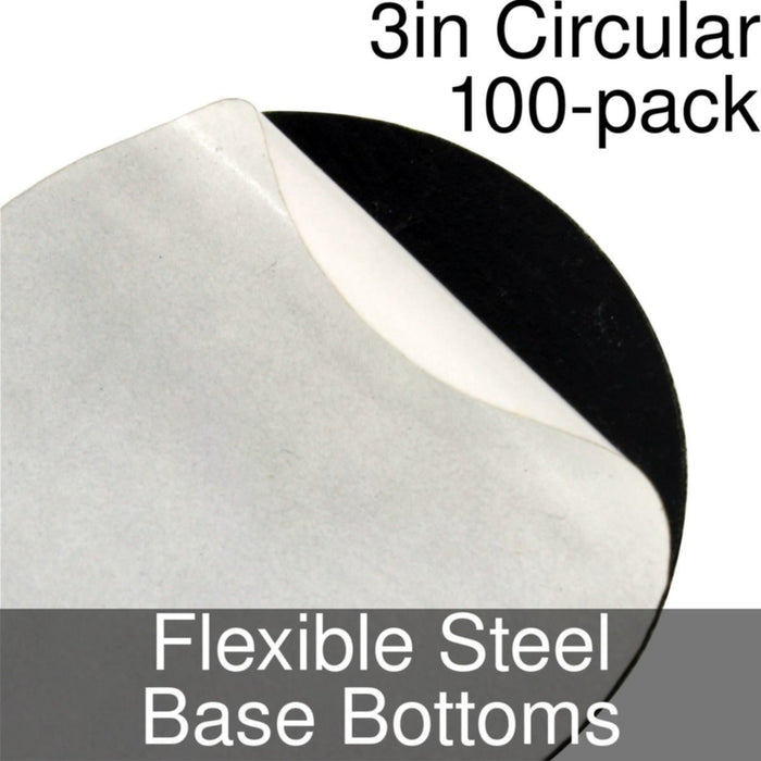 Miniature Base Bottoms, Circular, 3inch, Flexible Steel (100) - LITKO Game Accessories
