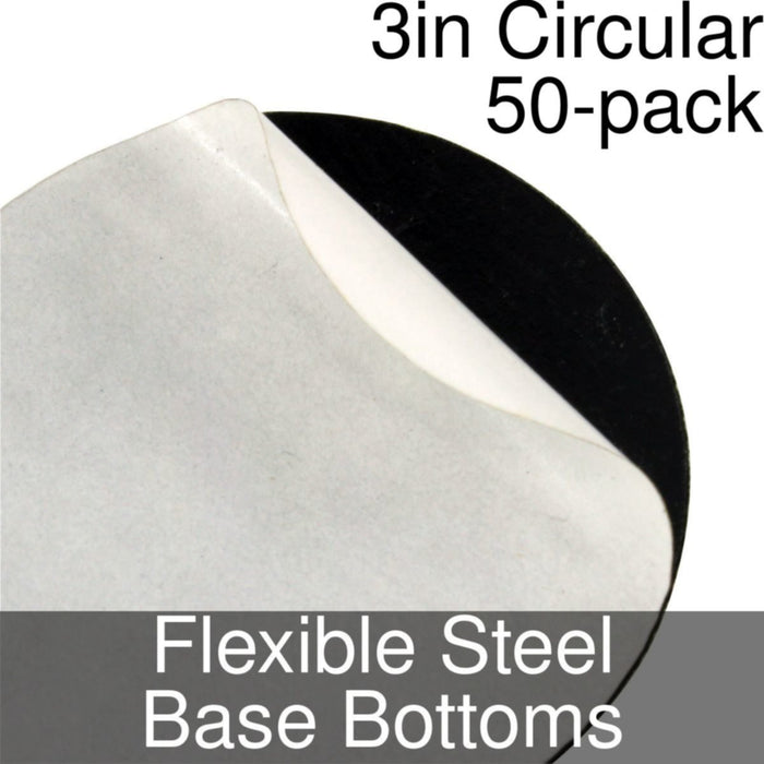 Miniature Base Bottoms, Circular, 3inch, Flexible Steel (50) - LITKO Game Accessories