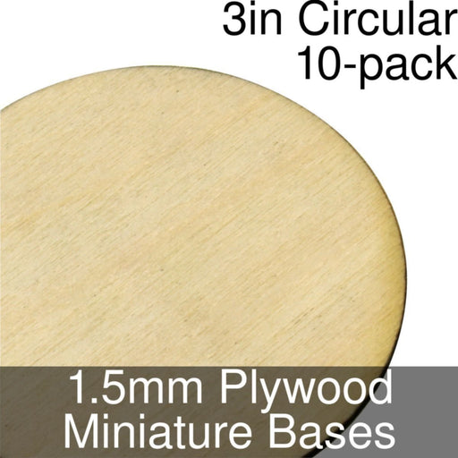 Miniature Bases, Circular, 3inch, 1.5mm Plywood (10) - LITKO Game Accessories