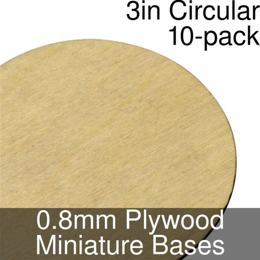 Miniature Bases, Circular, 3inch, 0.8mm Plywood (10) - LITKO Game Accessories