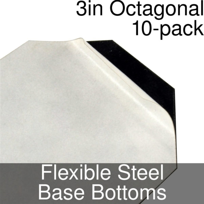 Miniature Base Bottoms, Octagonal, 3inch, Flexible Steel (10) - LITKO Game Accessories