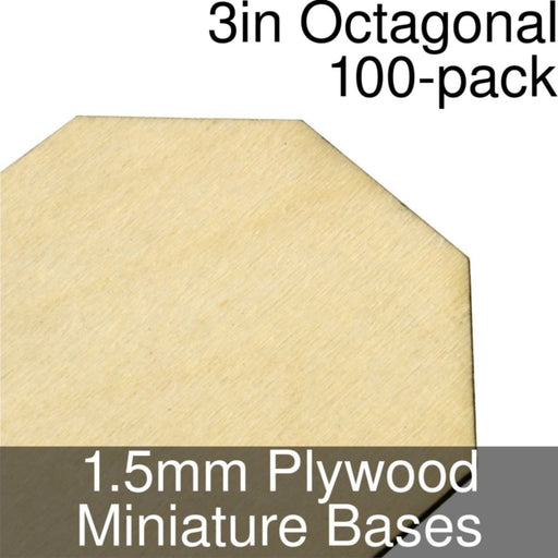 Miniature Bases, Octagonal, 3inch, 1.5mm Plywood (100) - LITKO Game Accessories