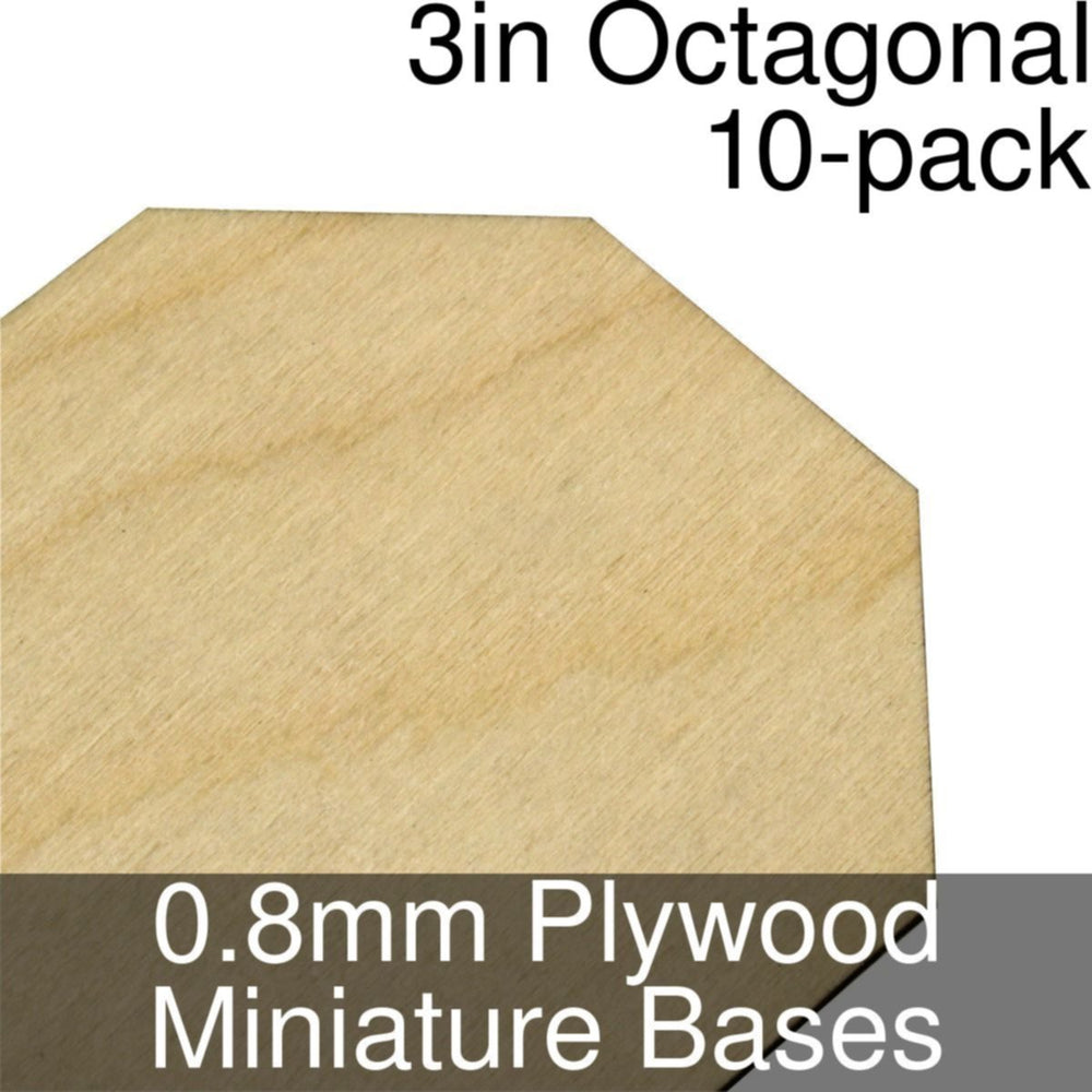 Miniature Bases, Octagonal, 3inch, 0.8mm Plywood (10) - LITKO Game Accessories