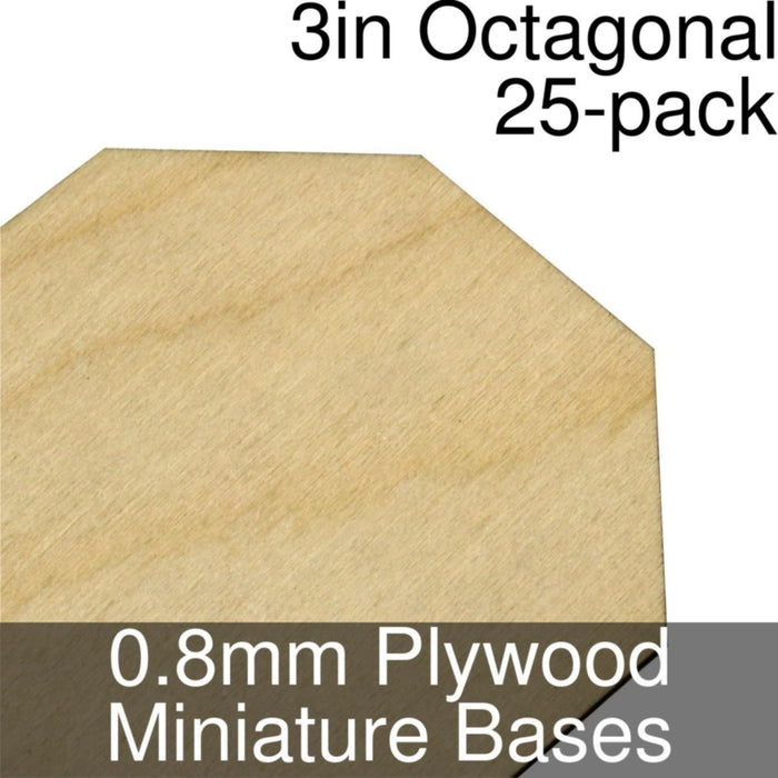 Miniature Bases, Octagonal, 3inch, 0.8mm Plywood (25) - LITKO Game Accessories