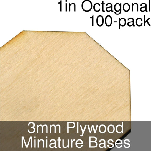 Miniature Bases, Octagonal, 1inch, 3mm Plywood (100) - LITKO Game Accessories