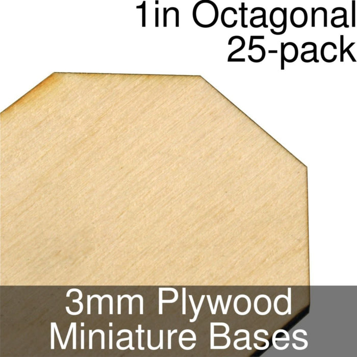Miniature Bases, Octagonal, 1inch, 3mm Plywood (25) - LITKO Game Accessories
