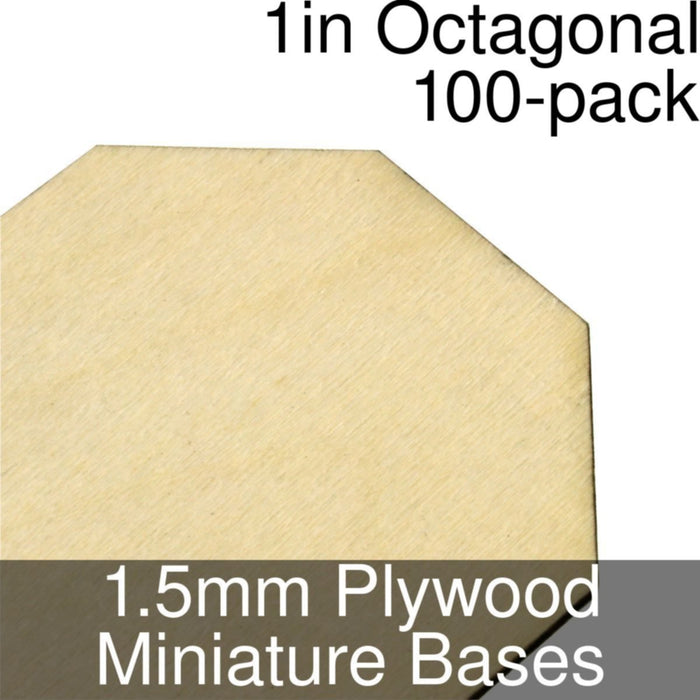 Miniature Bases, Octagonal, 1inch, 1.5mm Plywood (100) - LITKO Game Accessories