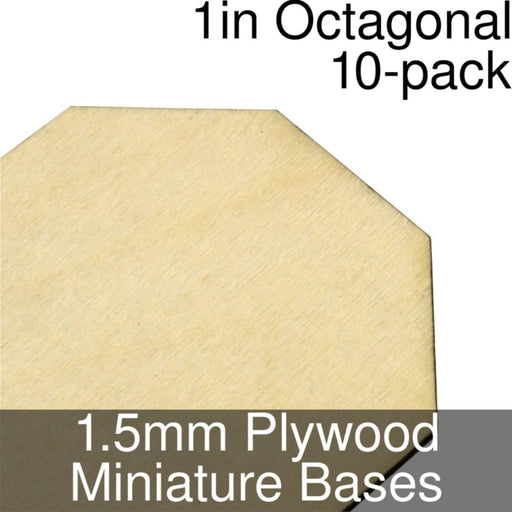 Miniature Bases, Octagonal, 1inch, 1.5mm Plywood (10) - LITKO Game Accessories