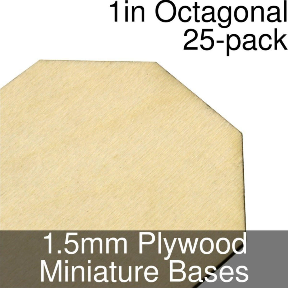 Miniature Bases, Octagonal, 1inch, 1.5mm Plywood (25) - LITKO Game Accessories