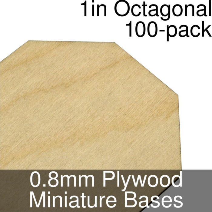 Miniature Bases, Octagonal, 1inch, 0.8mm Plywood (100) - LITKO Game Accessories