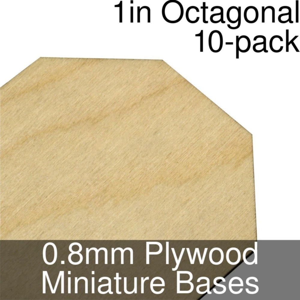 Miniature Bases, Octagonal, 1inch, 0.8mm Plywood (10) - LITKO Game Accessories
