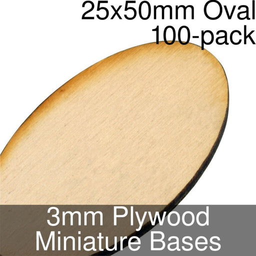 Miniature Bases, Oval, 25x50mm, 3mm Plywood (100) - LITKO Game Accessories
