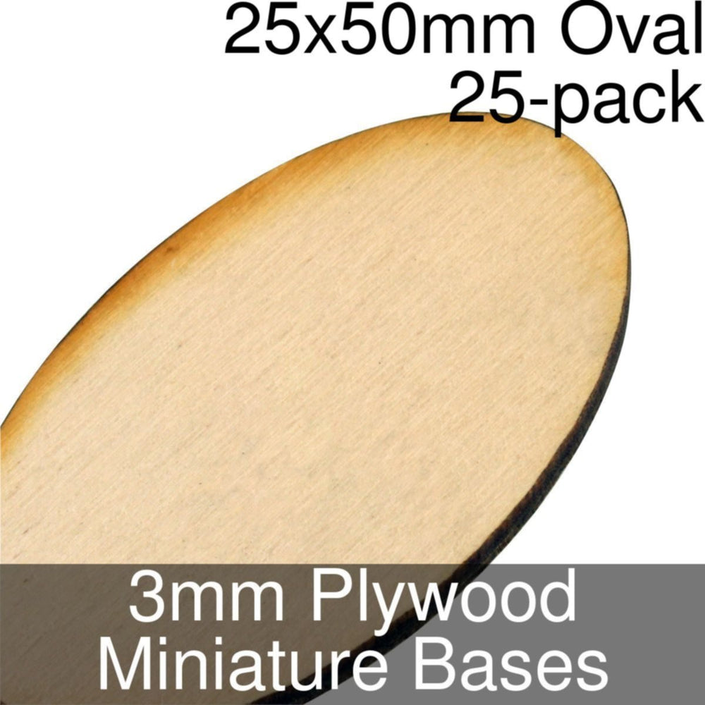 Miniature Bases, Oval, 25x50mm, 3mm Plywood (25) - LITKO Game Accessories