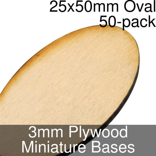 Miniature Bases, Oval, 25x50mm, 3mm Plywood (50) - LITKO Game Accessories