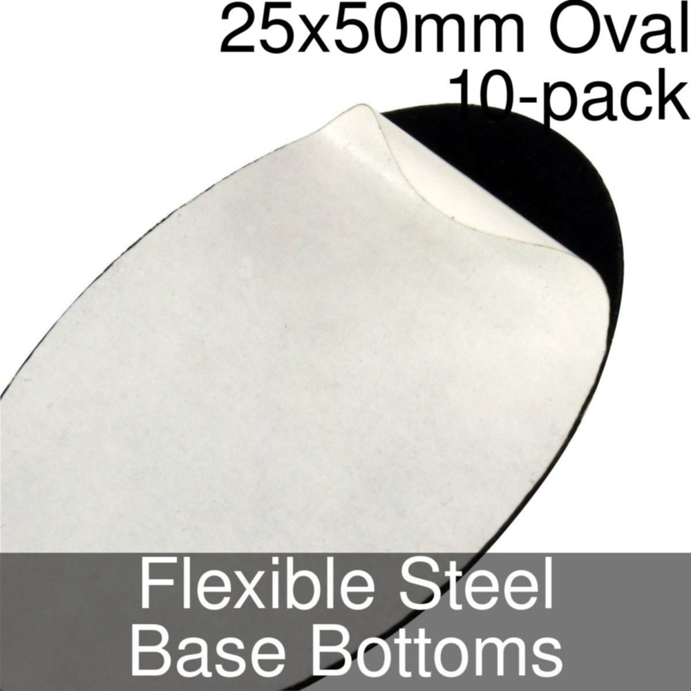 Miniature Base Bottoms, Oval, 25x50mm, Flexible Steel (10) - LITKO Game Accessories