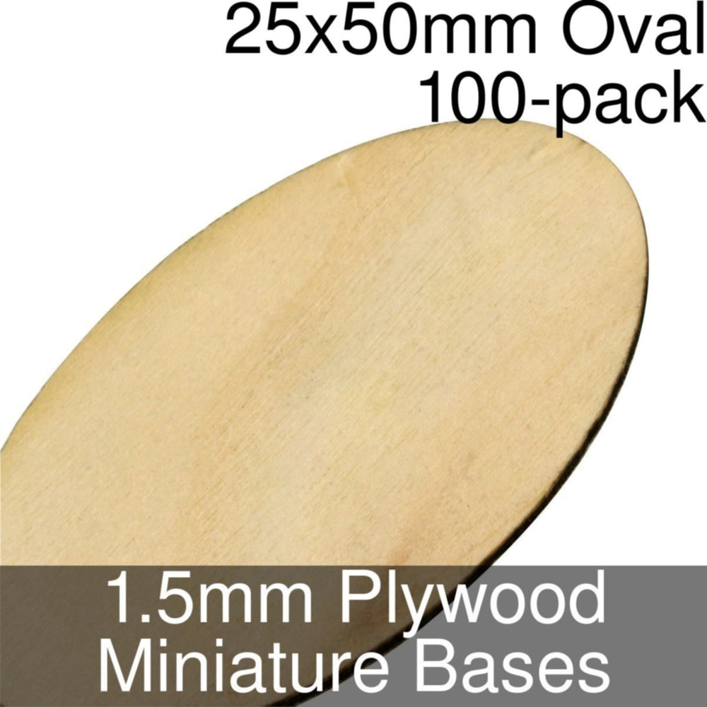 Miniature Bases, Oval, 25x50mm, 1.5mm Plywood (100) - LITKO Game Accessories