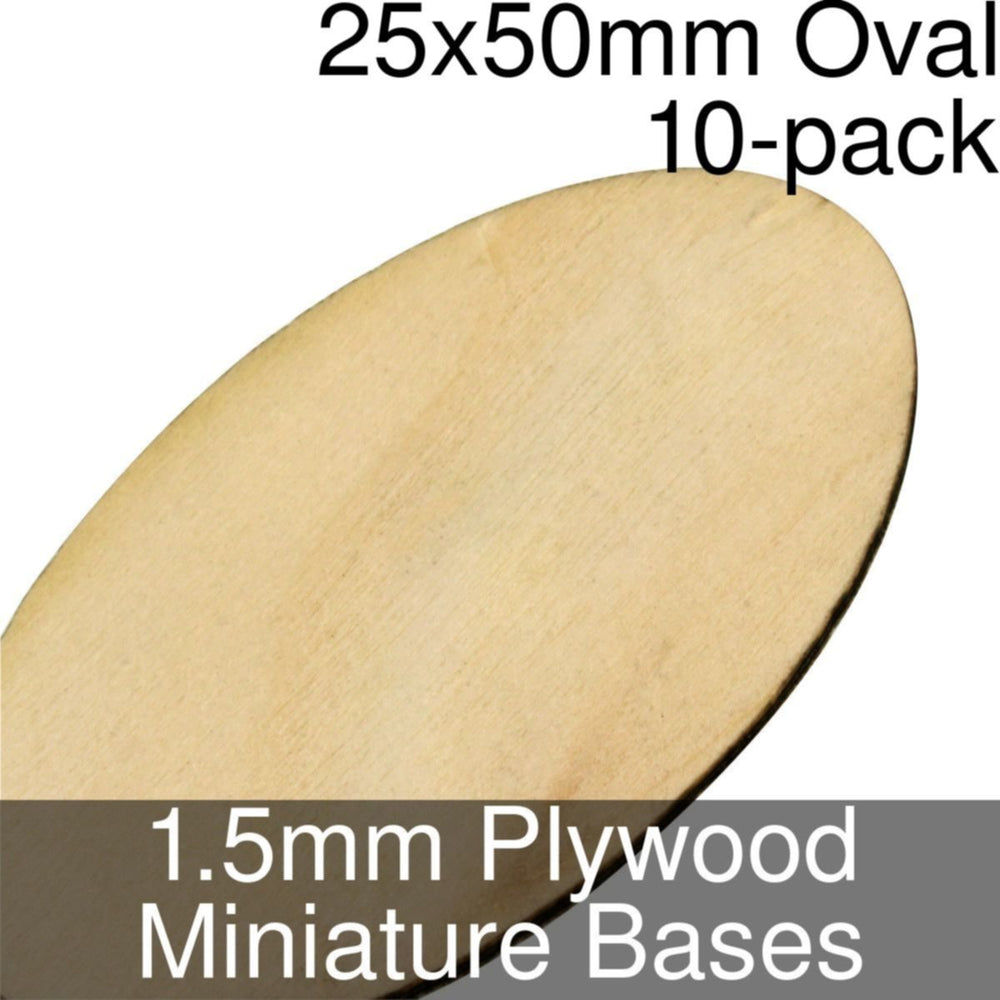 Miniature Bases, Oval, 25x50mm, 1.5mm Plywood (10) - LITKO Game Accessories
