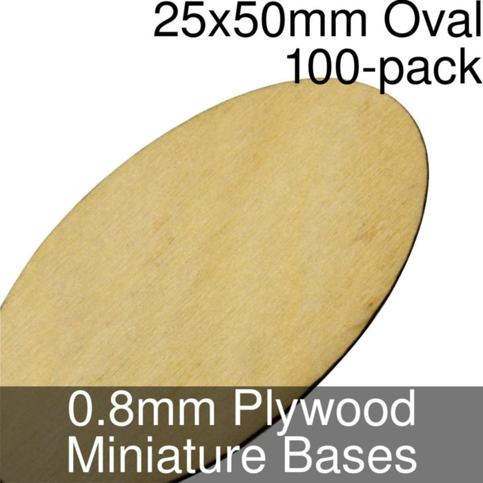 Miniature Bases, Oval, 25x50mm, 0.8mm Plywood (100) - LITKO Game Accessories