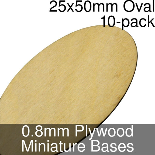 Miniature Bases, Oval, 25x50mm, 0.8mm Plywood (10) - LITKO Game Accessories