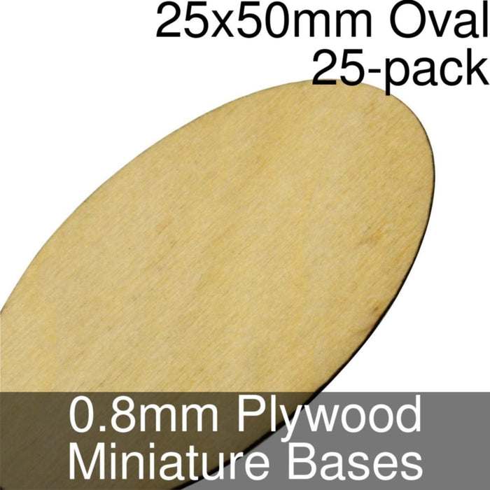 Miniature Bases, Oval, 25x50mm, 0.8mm Plywood (25) - LITKO Game Accessories