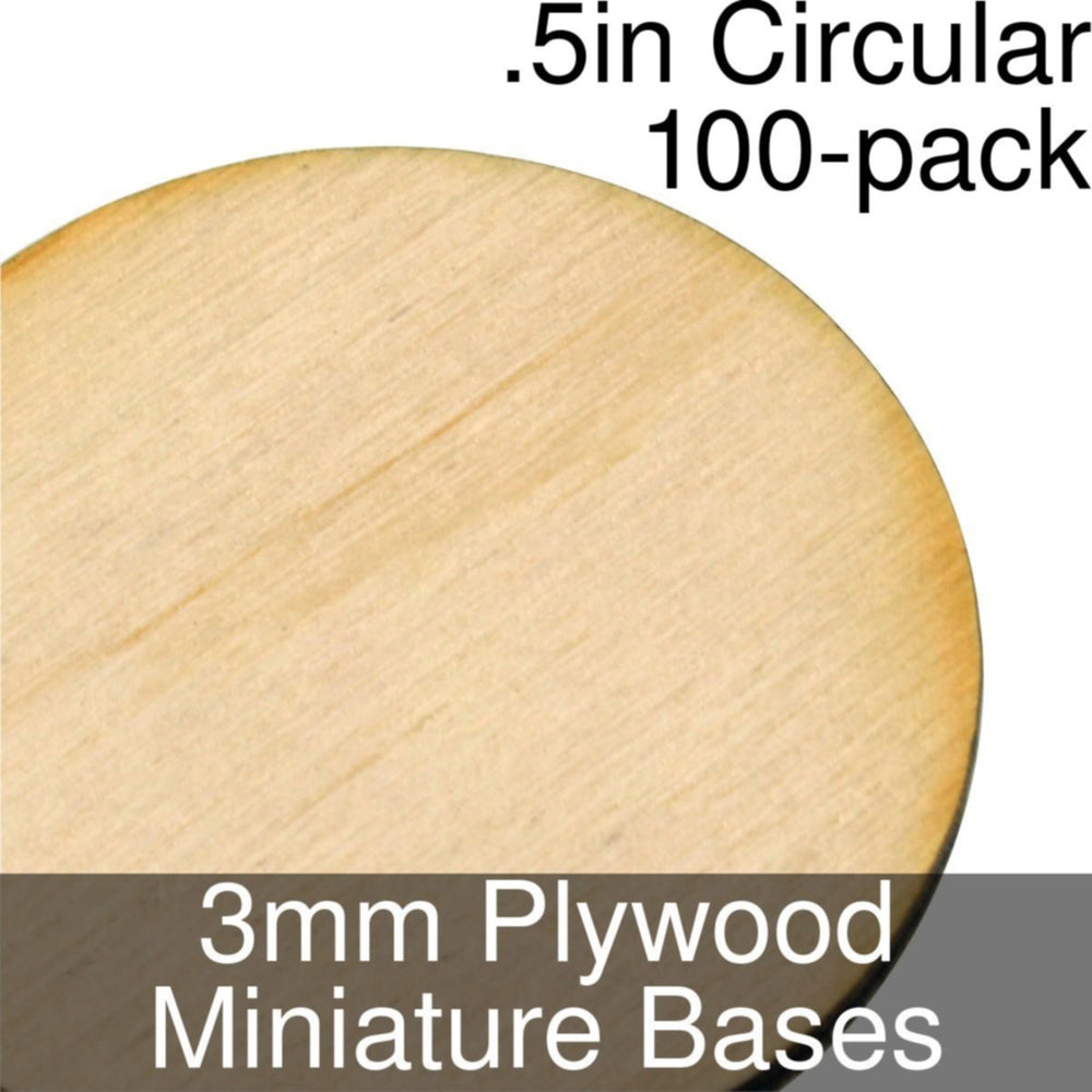 Miniature Bases, Circular, .5inch, 3mm Plywood (100) - LITKO Game Accessories
