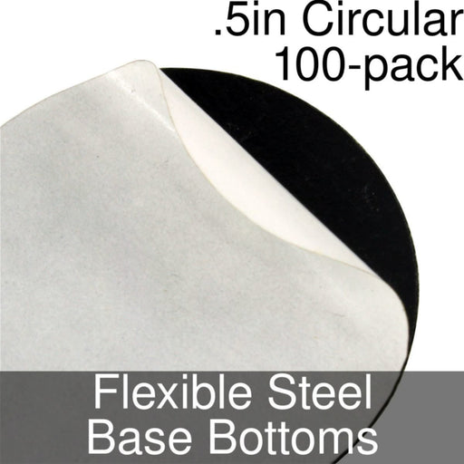 Miniature Base Bottoms, Circular, .5inch, Flexible Steel (100) - LITKO Game Accessories