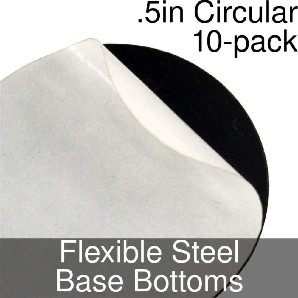 Miniature Base Bottoms, Circular, .5inch, Flexible Steel (10) - LITKO Game Accessories