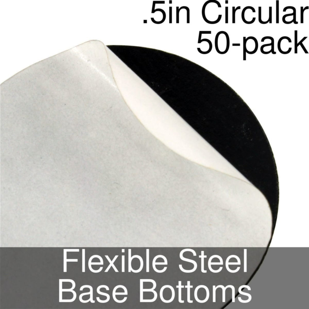 Miniature Base Bottoms, Circular, .5inch, Flexible Steel (50) - LITKO Game Accessories