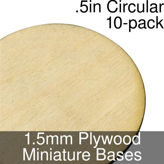 Miniature Bases, Circular, .5inch, 1.5mm Plywood (10) - LITKO Game Accessories