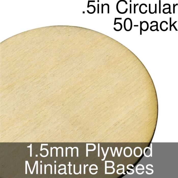 Miniature Bases, Circular, .5inch, 1.5mm Plywood (50) - LITKO Game Accessories