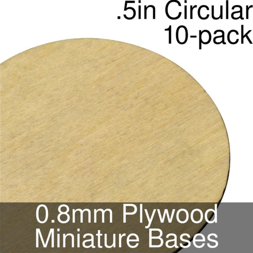 Miniature Bases, Circular, .5inch, 0.8mm Plywood (10) - LITKO Game Accessories