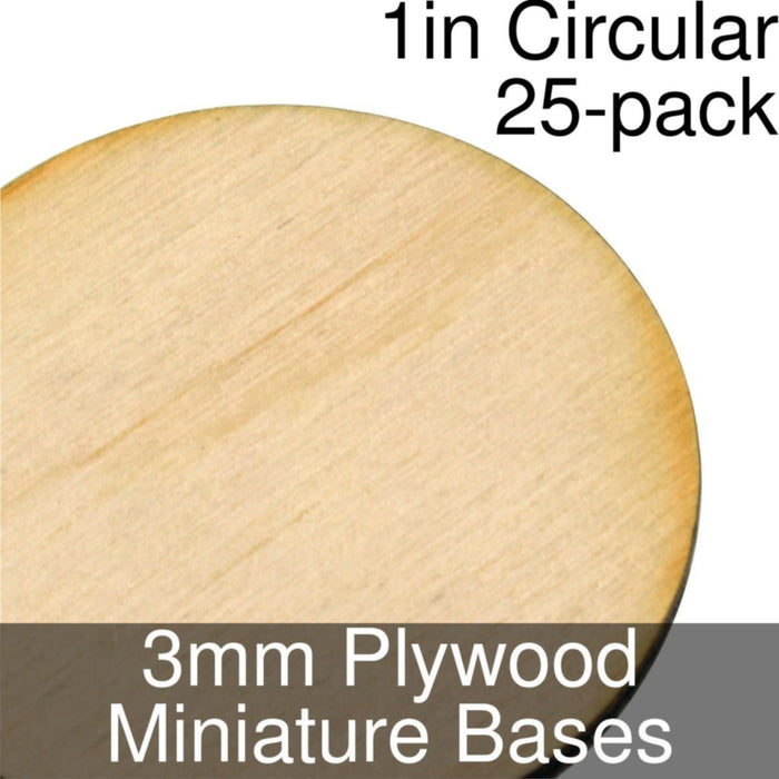 Miniature Bases, Circular, 1inch, 3mm Plywood (25) - LITKO Game Accessories