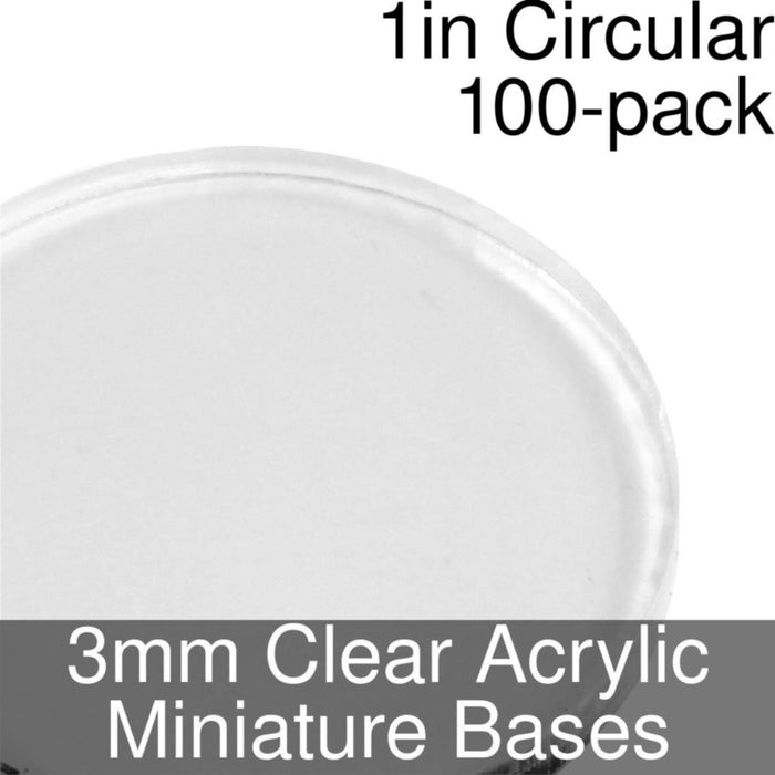 Miniature Bases, Circular, 1inch, 3mm Clear (100) - LITKO Game Accessories