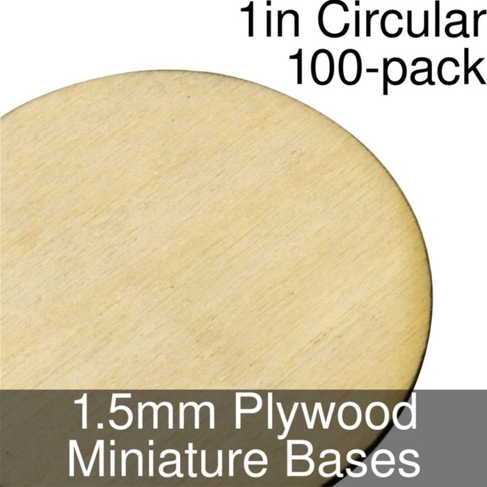 Miniature Bases, Circular, 1inch, 1.5mm Plywood (100) - LITKO Game Accessories