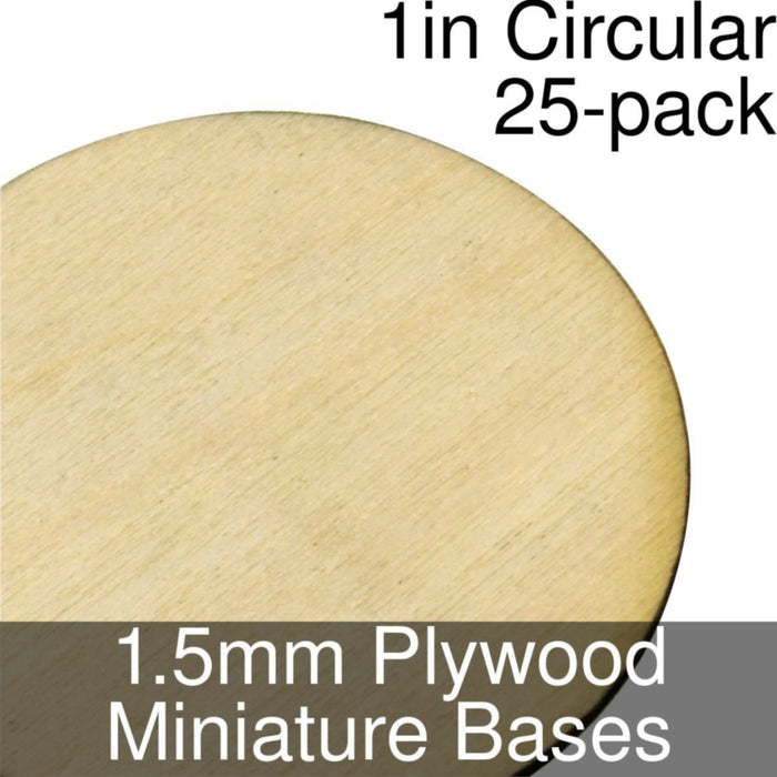 Miniature Bases, Circular, 1inch, 1.5mm Plywood (25) - LITKO Game Accessories