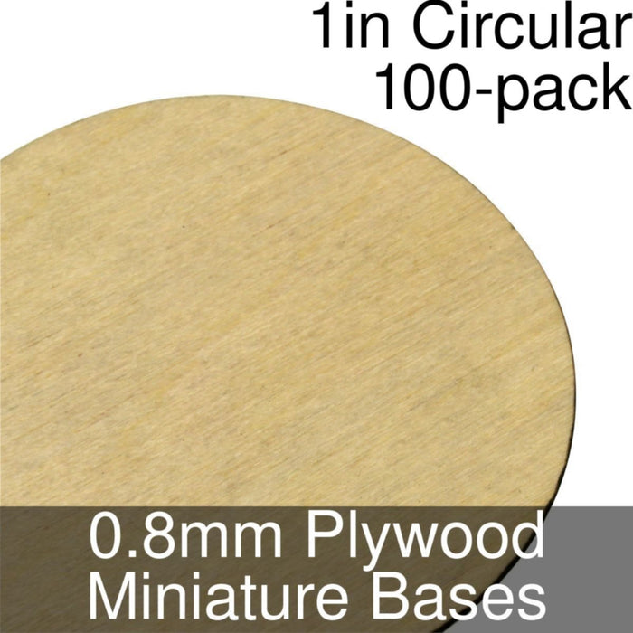Miniature Bases, Circular, 1inch, 0.8mm Plywood (100) - LITKO Game Accessories