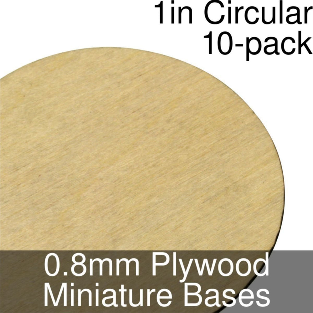 Miniature Bases, Circular, 1inch, 0.8mm Plywood (10) - LITKO Game Accessories