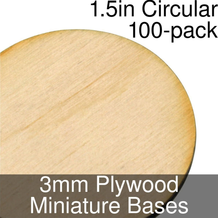 Miniature Bases, Circular, 1.5inch, 3mm Plywood (100) - LITKO Game Accessories