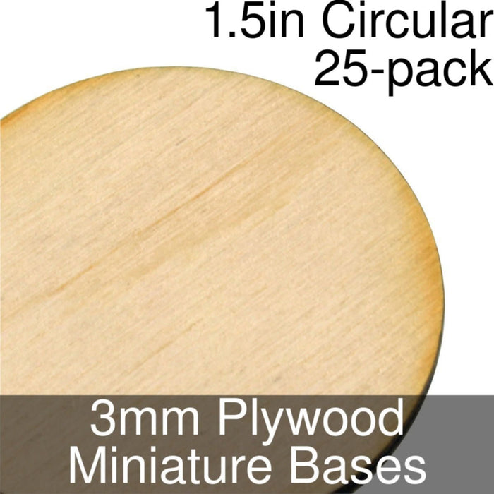 Miniature Bases, Circular, 1.5inch, 3mm Plywood (25) - LITKO Game Accessories