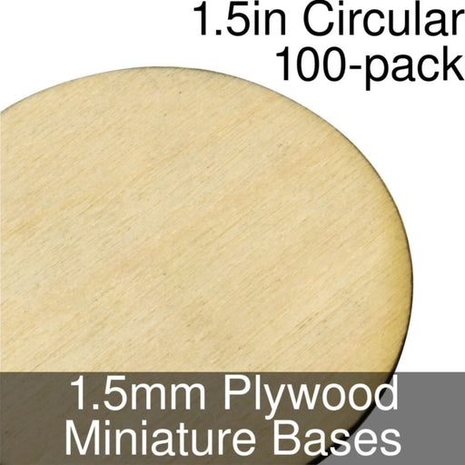 Miniature Bases, Circular, 1.5inch, 1.5mm Plywood (100) - LITKO Game Accessories