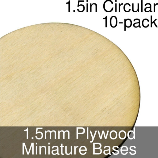 Miniature Bases, Circular, 1.5inch, 1.5mm Plywood (10) - LITKO Game Accessories
