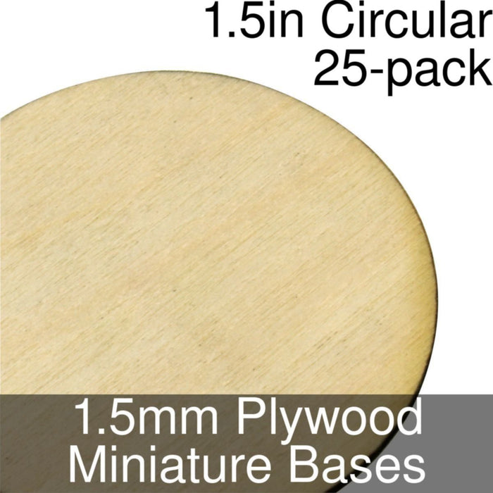 Miniature Bases, Circular, 1.5inch, 1.5mm Plywood (25) - LITKO Game Accessories