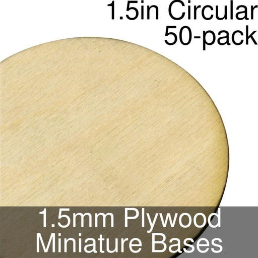 Miniature Bases, Circular, 1.5inch, 1.5mm Plywood (50) - LITKO Game Accessories