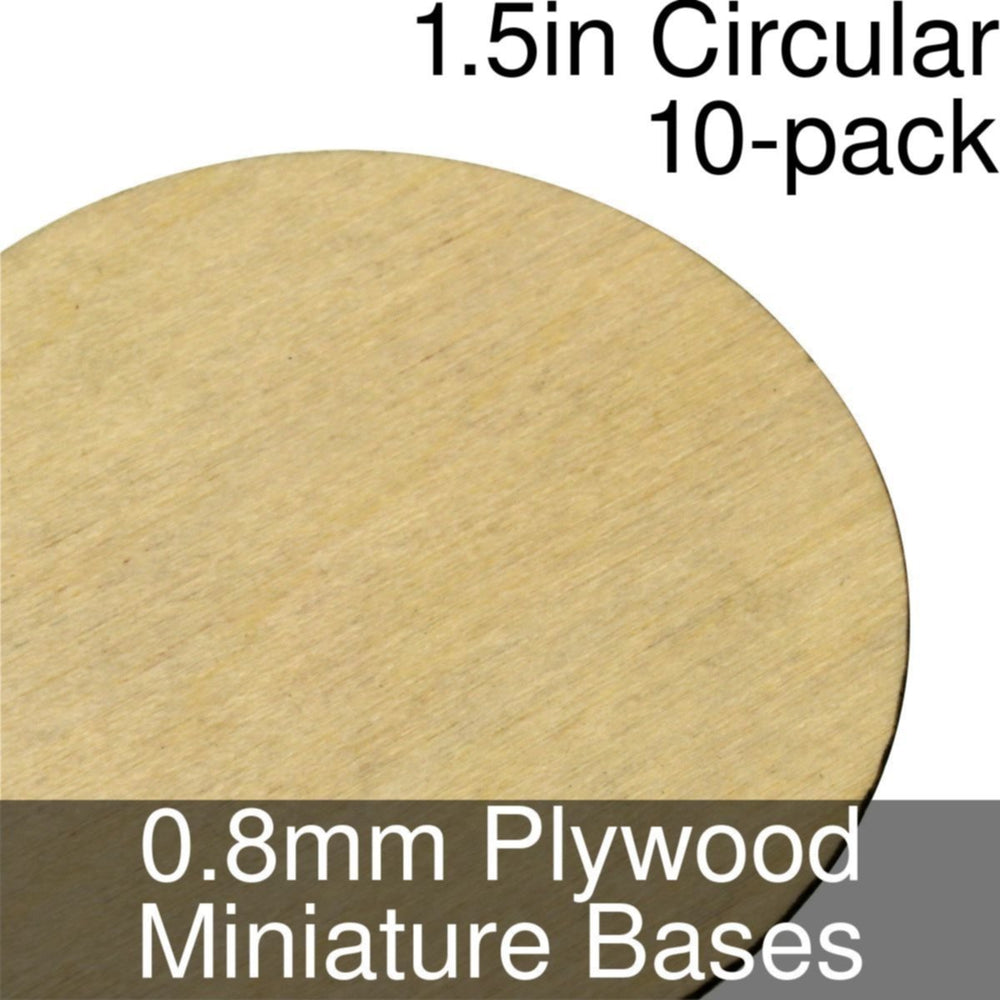 Miniature Bases, Circular, 1.5inch, 0.8mm Plywood (10) - LITKO Game Accessories