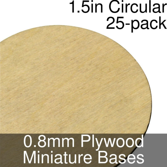 Miniature Bases, Circular, 1.5inch, 0.8mm Plywood (25) - LITKO Game Accessories