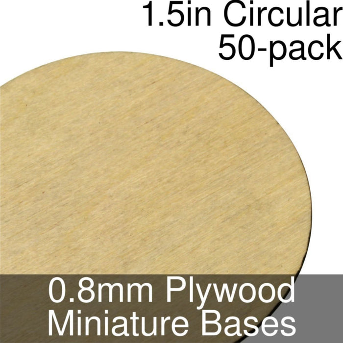 Miniature Bases, Circular, 1.5inch, 0.8mm Plywood (50) - LITKO Game Accessories