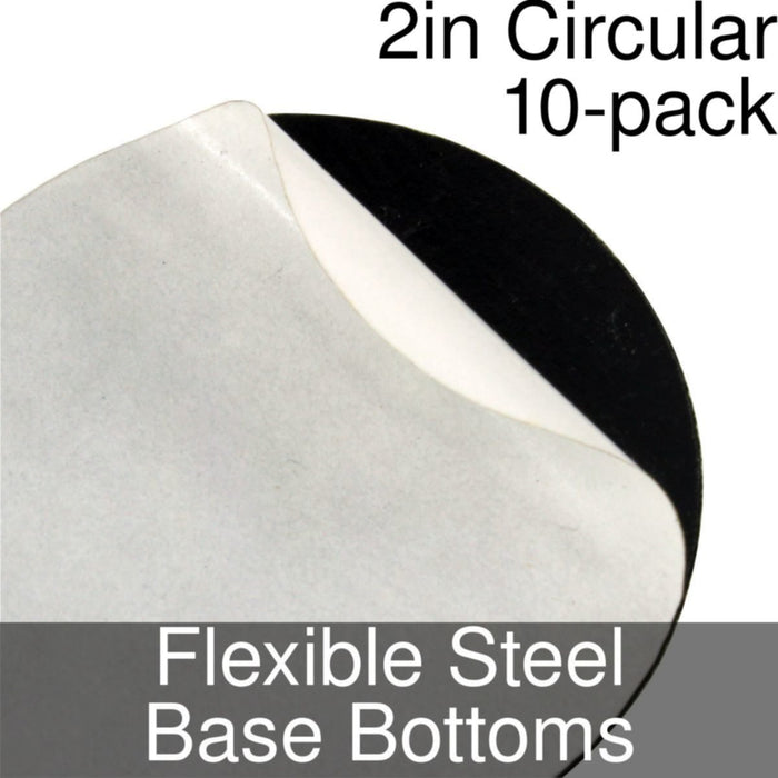 Miniature Base Bottoms, Circular, 2inch, Flexible Steel (10) - LITKO Game Accessories