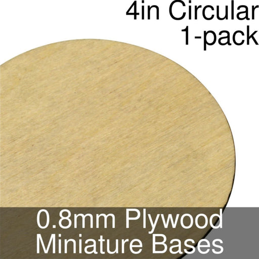 Miniature Bases, Circular, 4inch, 0.8mm Plywood (1) - LITKO Game Accessories