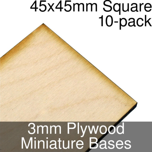 Miniature Bases, Square, 45x45mm, 3mm Plywood (10) - LITKO Game Accessories
