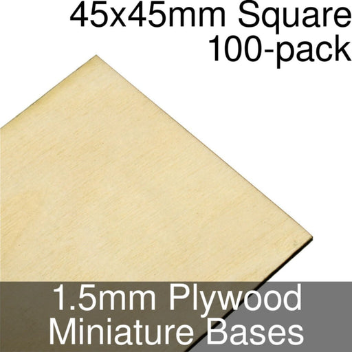 Miniature Bases, Square, 45x45mm, 1.5mm Plywood (100) - LITKO Game Accessories